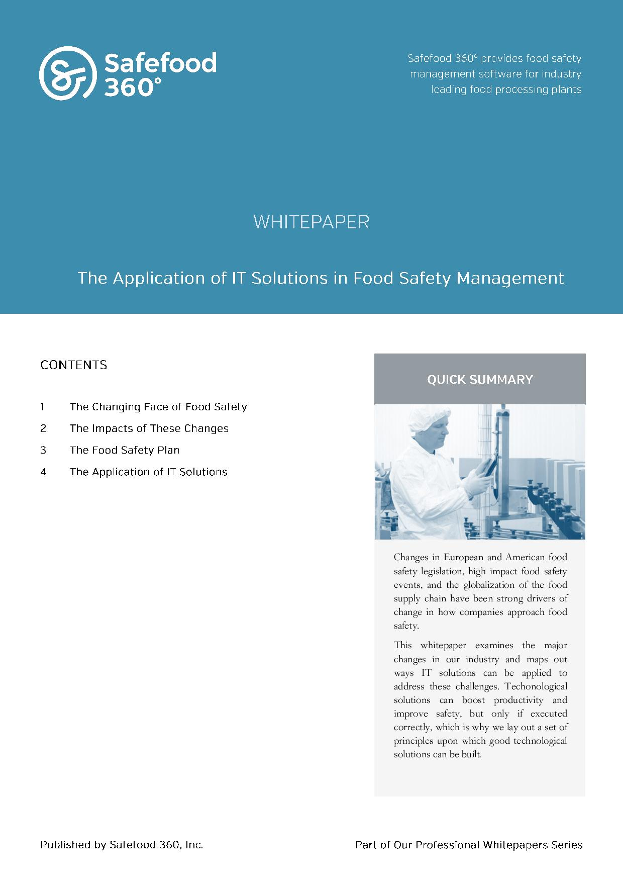 Application of IT solutions in Food Safety Management
