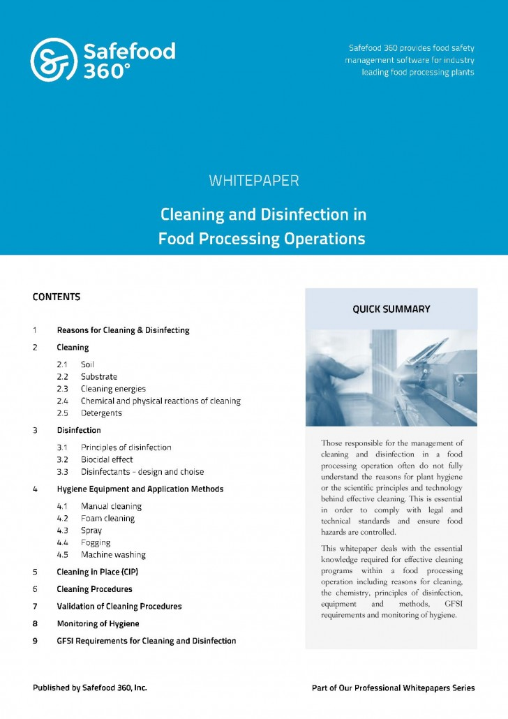 Safefood 360 Cleaning and Disinfection in Food Processing Operations