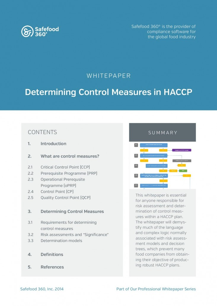 Safefood 360 Determining control measures in HACCP