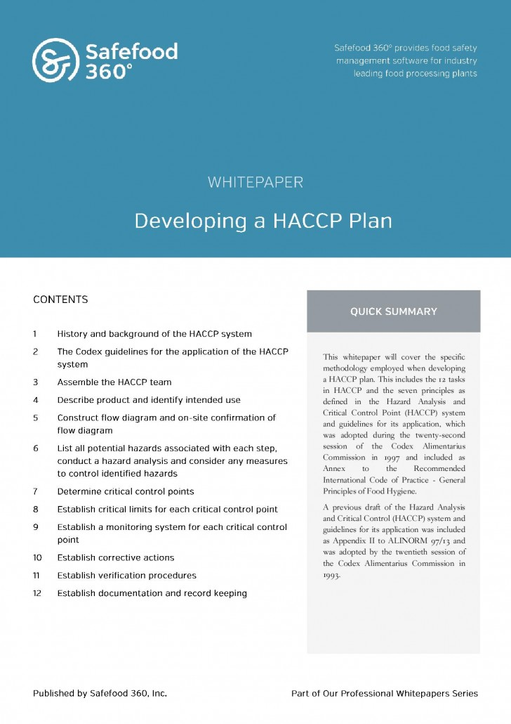 Safefood 360 Developing a HACCP plan