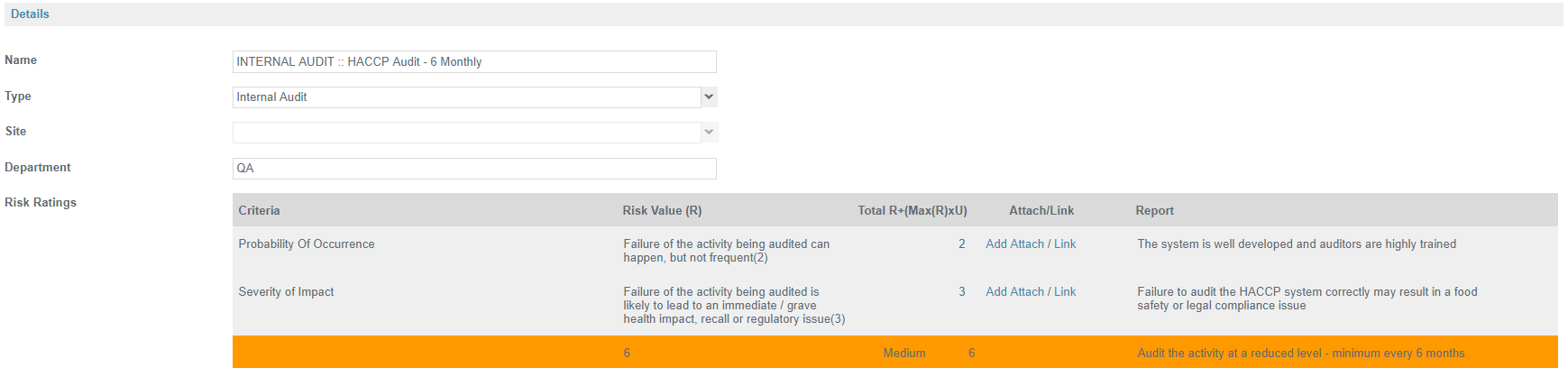 Auditing Activity - RAM Risk Assessment Model Tool - Safefood 360°