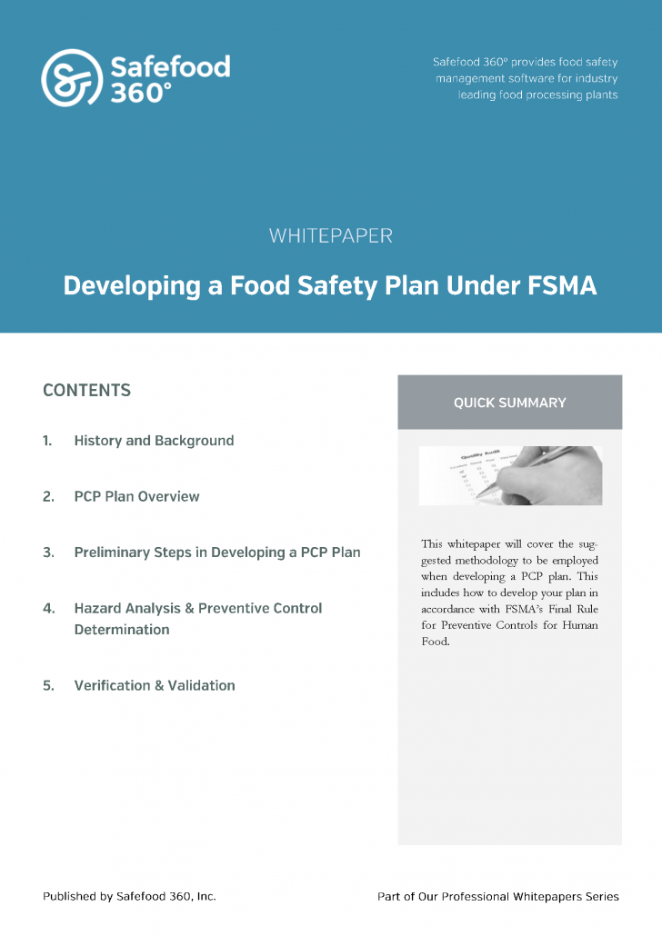 Safefood 360 developing a food safety plan under FSMA whitepaper