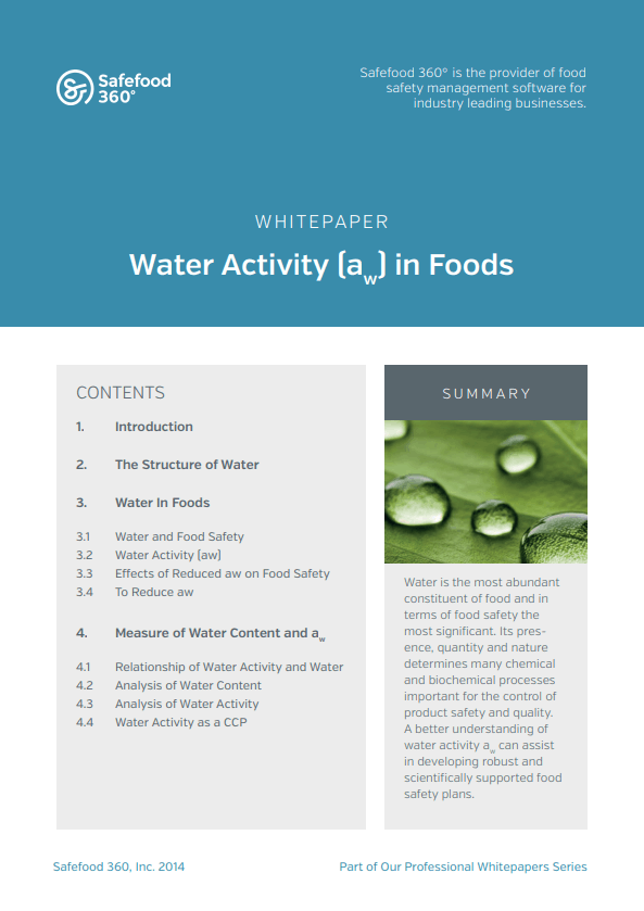 Safefood 360 Water Activity in Foods